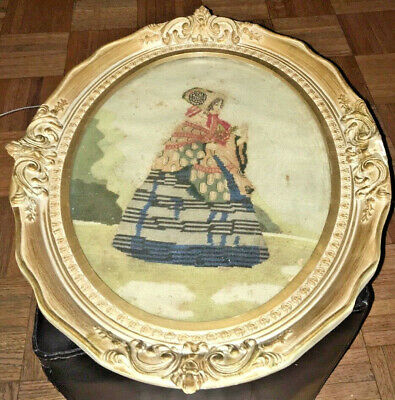 Antique NEEDLEPOINT VICTORIAN LADY IN Bonnet Pre-1920's Heirloom FRAMED French?