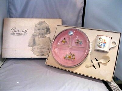 Vintage Baby Feeding Warming 3  Piece Pink Set Hot Water In Original Box 1940-50