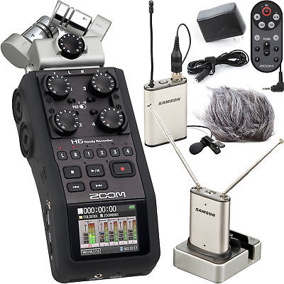 Zoom H6 Portable Recorder + Samson Airline Micro Lavalier Wireless System & Accs