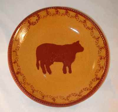 1985 Foltz Glazed Brownish-Yellow Redware Plate Brown Mottling and Slip Cow