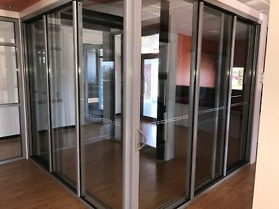 Aluminium Corner Stacker Door - 2400 H X 5490 W  (Item 3991/23) Ultra Silver