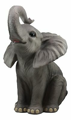 "Sitting Elephant Large Statue 17""Tall Figurine Home & Garden Decor"