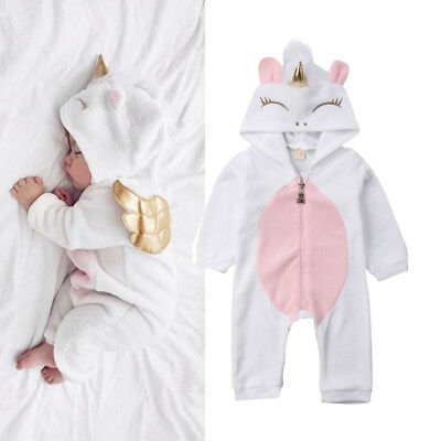 Unicorn Newborn Baby Boys Girls Long Sleeve 3D Hooded Romper Jumpsuit Outfits