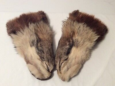Wolf & Beaver Fur Mittens Hand Made in Bethal Alaska Size Men's Large