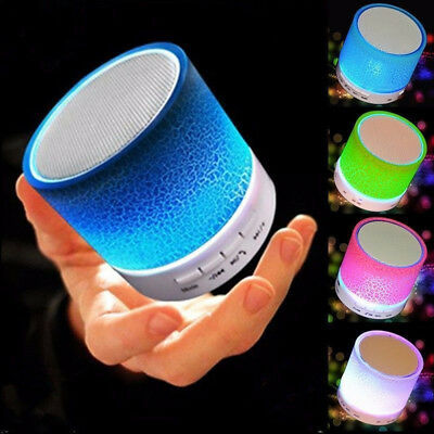 Portable LED Mini Wireless Bluetooth Speaker Support TF Card USB FM Stereo Sound