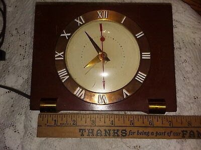Vintage General Electric Ge Telechon Alarm Clock Art Deco Style Wood Wooden