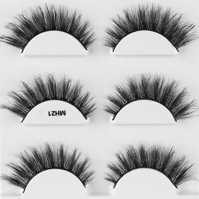 3Pairs 100% Mink  Thick False Fake Eyelashes Eye Long Lashes Makeup Extension