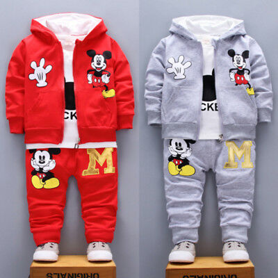 Cartoon Outfit Set Kids Boys Girls Hoodie Jacket T-Shirt Pants Tracksuit Clothes