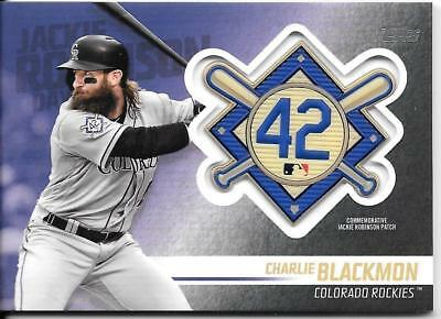 Charlie Blackmon 2018 Topps Update JACKIE ROBINSON LOGO PATCH RELIC Rockies