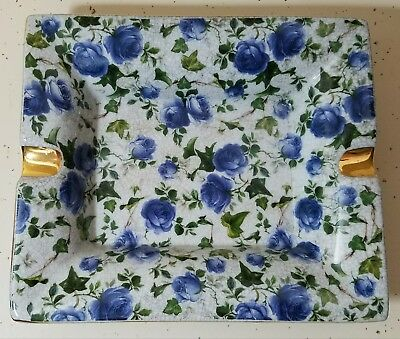 Vintage Large Lady's Ashtray w/ Blue Roses, Handpainted Gold Trim - Transferware