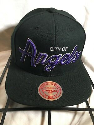 "Los Angeles Lakers ""City of Angels"" NBA Mitchell and Ness Snapback Hat Cap"