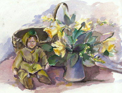Contemporary Watercolour - Child with Large Vase of Flowers
