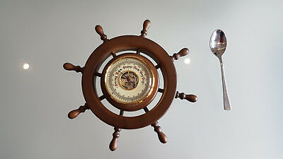 Aneroid Barometer, Ship Wheel, Made In West Germany & In Nice Working Condition.