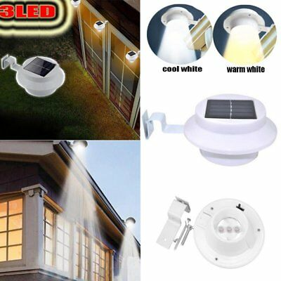 3 LED Solar Powered Outdoor Garden Yard Wall Fence Pathway Lamp Gutter Lights