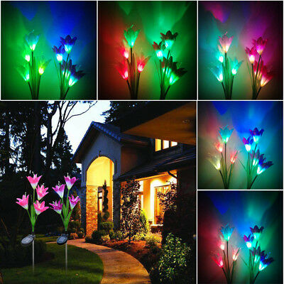 Solar Powered Lily Flower Garden Stakes 2 Pack Color Change LED Light Yard Decor