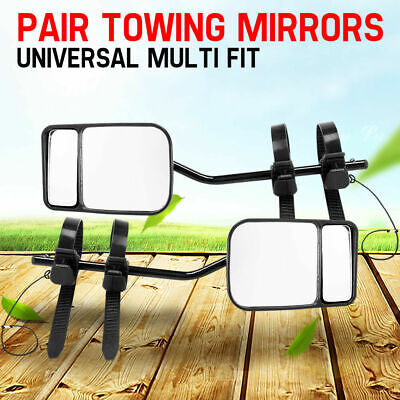 Pair Towing Mirrors Strap On Cars 4x4s Caravan Black For Ford Ranger PX MK XLT