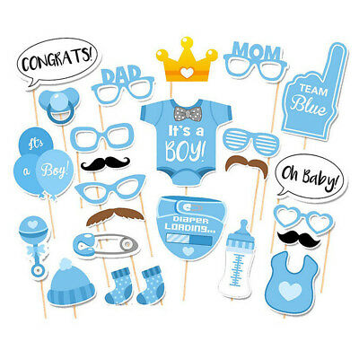 25Pcs/Set Baby Shower Photo Booth Props Boy Girl Funny Birthday Party Decoration