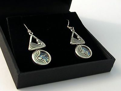 Roman Glass Jewelry Circular Triangle Design Sterling Silver Earrings Great Gift
