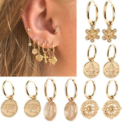 Hoop Earrings Women Cartilage Cross Heart Earring Hoop Earrings Jewelry Chic~