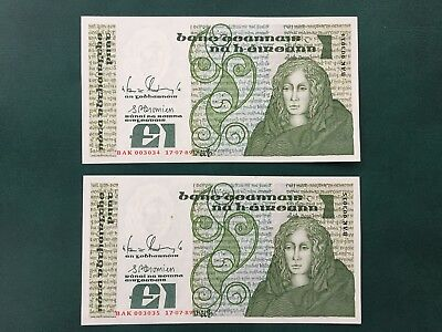 Series 'B' £1 1989 Sequential Notes About UNC.
