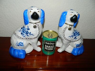 Vintage Pair Of  Blue & White Staffordshire Spaniel Dogs