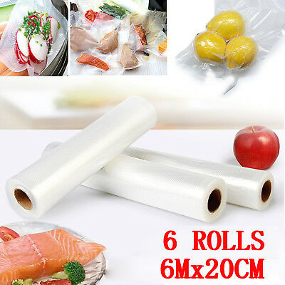 6Mx20CM Vacuum Food Sealer Rolls Saver Bags Seal Storage Commercial Heat Grade