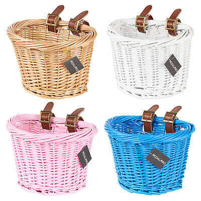 PedalPro Childrens Wicker Bicycle Shopping Basket For Kids Boys Girls Bike Cycle