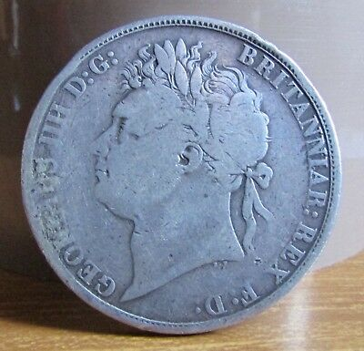 1821 Secundo King George 4th UK 92.5% Sterling Silver Crown Coin