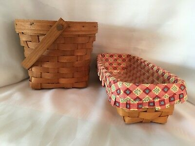 Hand Woven Longaberger Baskets Set of 2 Medium One w/ handle One w/ liners VNUC