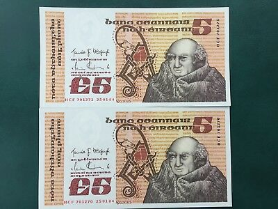 Two 1984 £5 Series 'B' Irish Central Banknotes UNC