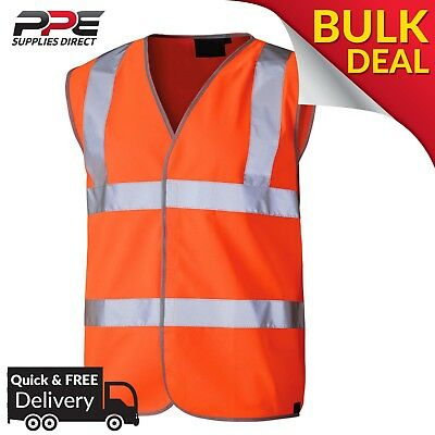 HI VIZ Vest Jacket Orange High Vis Safety Work Waistcoat with Velcro