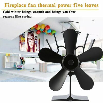 5 Blade Heat Powered Wood Log Fire Burner Mini Stove Fireplace Top Burning Fan#G