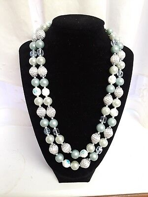 Vintage *JAPAN* Baby Blue/White Beads Double Strand Necklace  GORGEOUS
