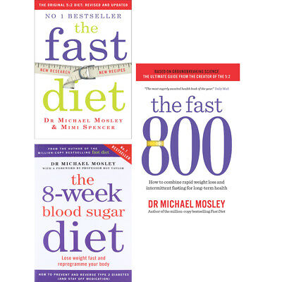 Fast Diet,8-Week Blood Sugar Diet, Fast 800 Collection 3 Books set NEW Paperback