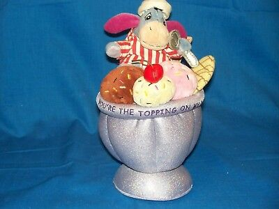 "Disney Store Winnie the Pooh Eeyore plush Sweet Shoppe Ice Cream Sundae 9"" tag"