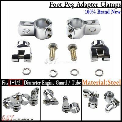 """Chrome 1-1/2"""" Highway Crash Bar Foot Peg Adapter Mount Clamps Clevis For Harley"""