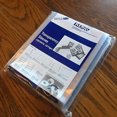 "100 Kenro 10x8"" KEN082 Transparency Sleeves. Clear front, frosted back. Unopened"