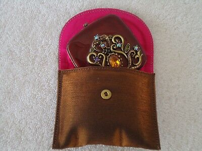 Jay Strongwater Jeweled Double Mirror Compact With Pouch... MINT  nj -0018