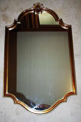 Vtg Homco Syroco Gold Framed Large Wall Mirror Shell Top