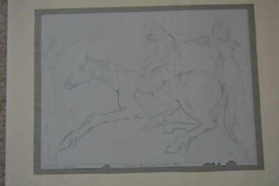 """Allan Rohan Crite Drawing African American Artist  Signed 1930's 12"""" X 15"""""""