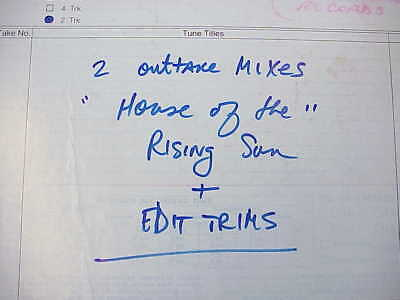 Eric Burdon John Sterling House of the Rising Sun  Tape Master Reel Animals 88