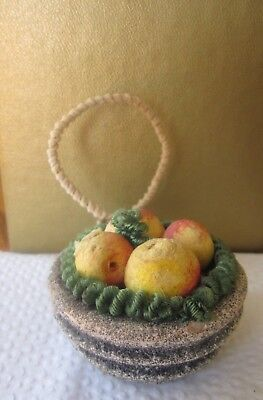 Vintage Spun Cotton Fruit Basket Chenille Mica Feather Tree Christmas Ornament