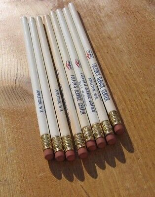 8 Vintage 1950's Unused Ad Pencils~Fulton's Mobil Gas Oil Appleton Wis~Pegasus