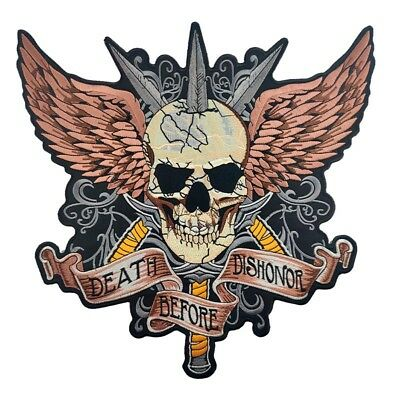 Large skull death before dishonor embroidered motorcycle biker iron on patches