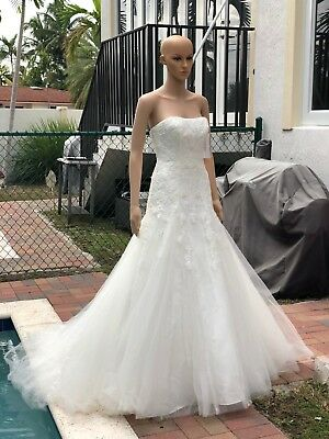David S Bridal Mermaid Trumpet Strapless Tulle Lace Wedding Dress Fit Flare Slip