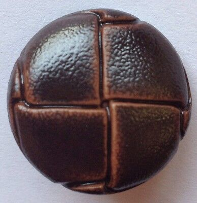 34 Ligne / 21MM Brown Leather Effect Football Buttons (10pcs)