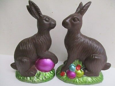 2 pc set Easter Faux Classic Chocolate Bunny Rabbit Decoration 5.5""