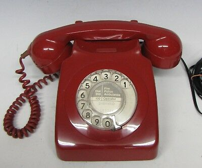Vintage Retro 1972 Red GPO 746 Dial Telephone Converted & Working