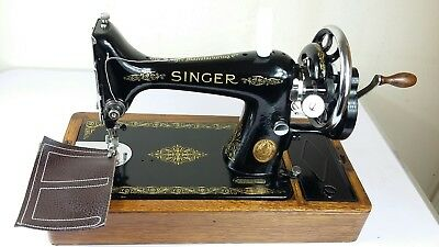 Heavy Duty Singer 99K Hand crank Sewing Machine, sews Leather, Fully Serviced