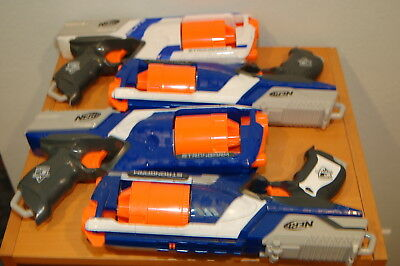 Lot of 4 NERF N Strike Elite STRONGARM 6 Shot Dart Gun White Blue